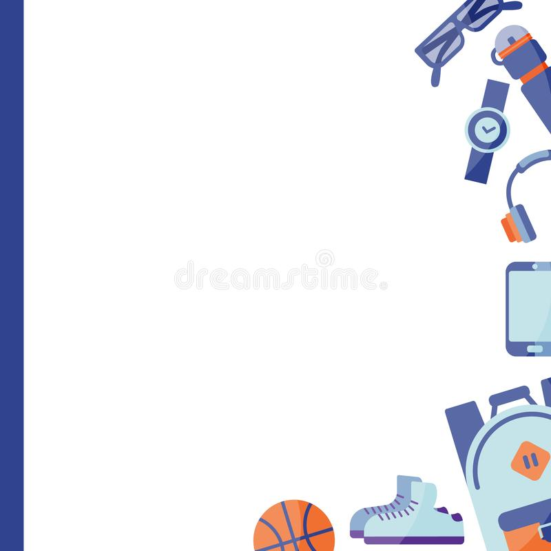 Clothing and shoes for active recreation. stock illustration