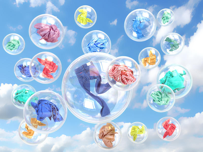 Clothing in soap bubbles on sky background royalty free stock images