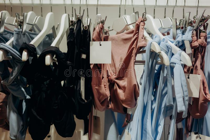 Clothing store boutique fashion shopping sale collection. Clothing store boutique fashion stuff shopping sale collection stock photos