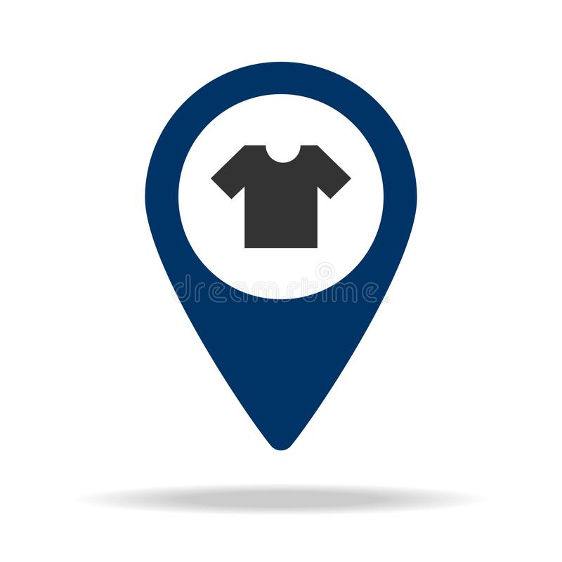 Clothing store location in blue map pin icon. Element of map point for mobile concept and web apps. Icon for website design and de. Velopment, app development vector illustration