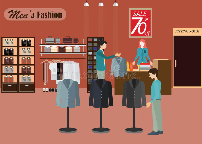 Clothing store for men2. royalty free illustration