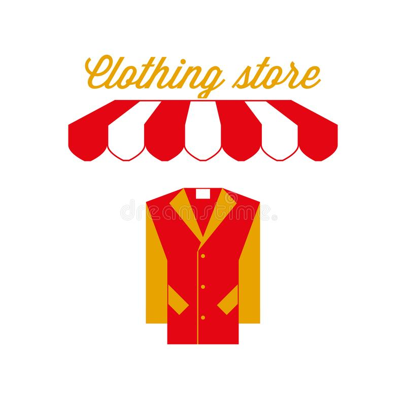 Clothing Store Sign, Emblem. Red And White Striped Awning ...