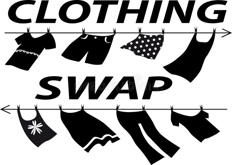 Clothing swap party. Clothes swap party sign with assorted clothes, EPS 8 vector silhouette stock illustration