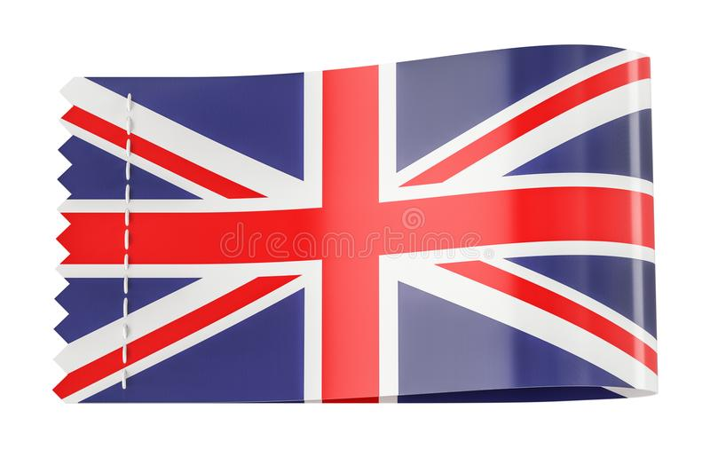 Clothing tag, label with flag of United Kingdom. 3D rendering vector illustration