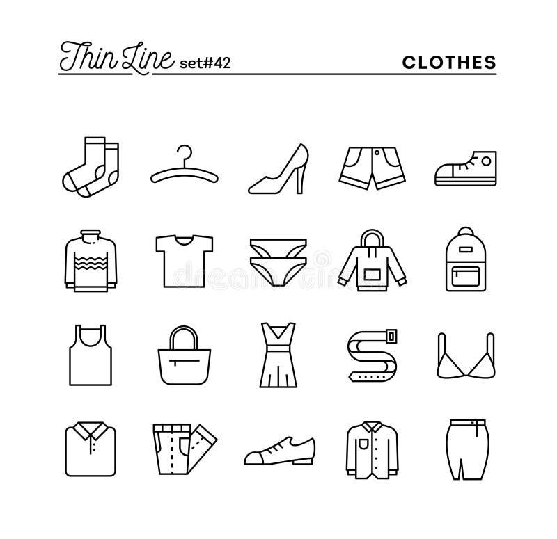 Clothing, thin line icons set royalty free illustration