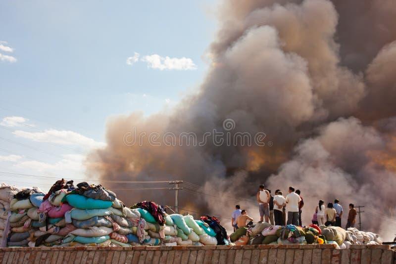 Clothing warehouse fire Smoke royalty free stock photo