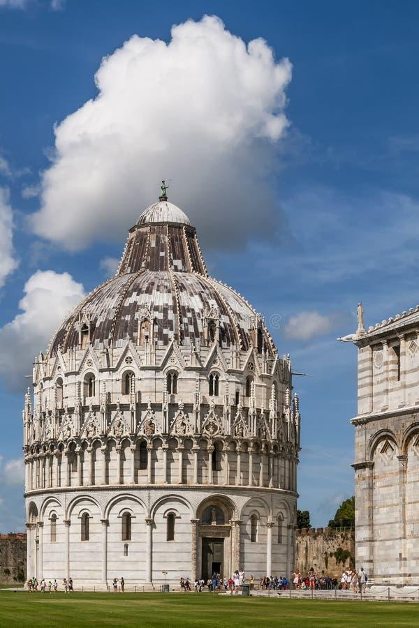 Cloud above the Baptistery, Piazza dei Miracoli, Pisa, Tuscany, Italy stock image