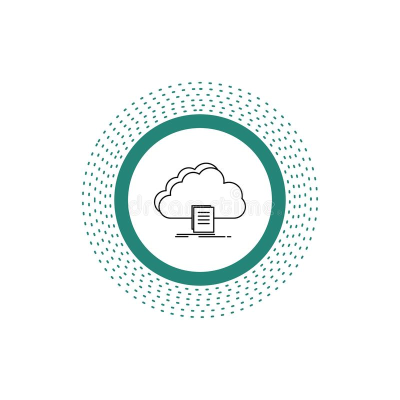 Cloud, access, document, file, download Line Icon. Vector isolated illustration. Vector EPS10 Abstract Template background stock illustration