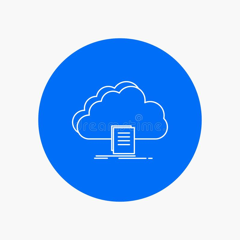 Cloud, access, document, file, download White Line Icon in Circle background. vector icon illustration. Vector EPS10 Abstract Template background royalty free illustration