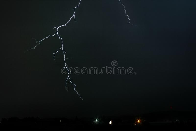Cloud Air lightning discharge which does not reach the ground. royalty free stock photography