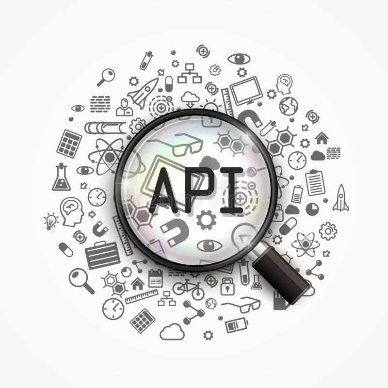Cloud API 3D sign technology. stock illustration