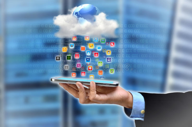 Cloud Application. A concept of smartphone accessing software and application from the internet's cloud server