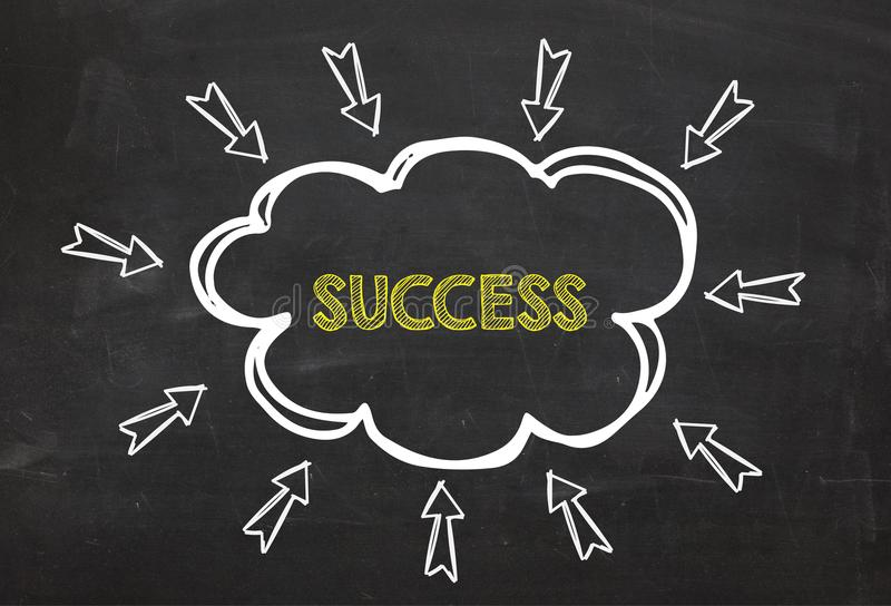 Cloud and arrow with text Success. Success information concept on blackboard background. vector illustration