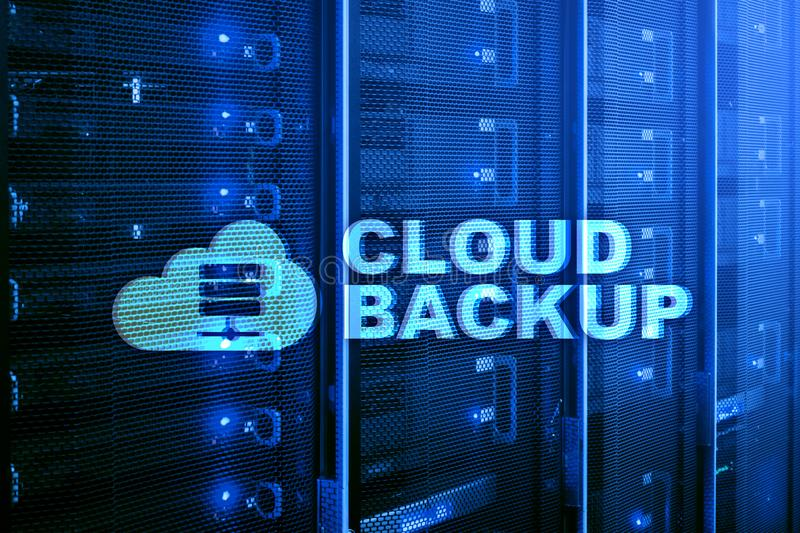 Cloud backup. Server data loss prevention. Cyber security. royalty free illustration