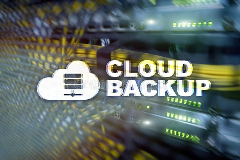 Cloud backup. Server data loss prevention. Cyber security stock photo