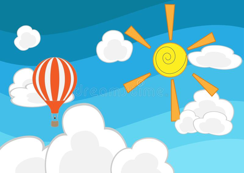 Vector cloud and balloon on blue background vector illustration