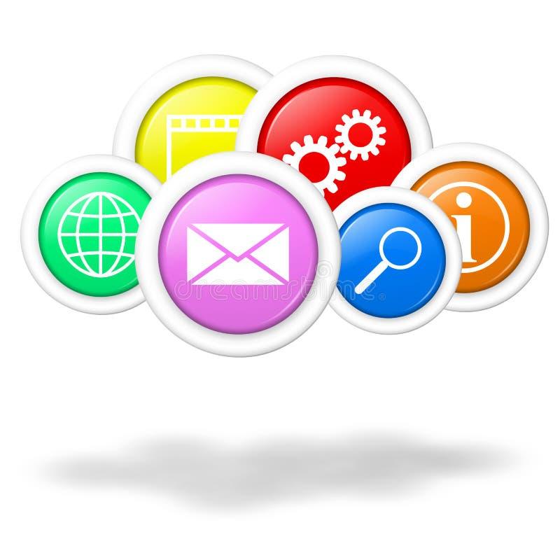 Cloud beräknande applikationer och service royaltyfri illustrationer