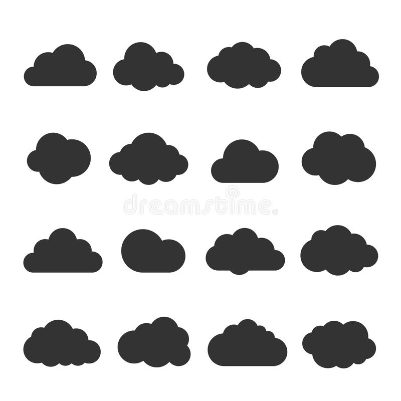 Cloud black icon set. Safe, secure and scalable data protection. Cloud storage and sharing over the Internet. Vector flat style cartoon illustration isolated stock illustration