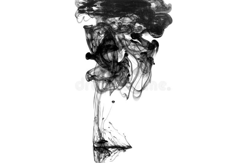 Cloud of black ink in water isolated. stock images