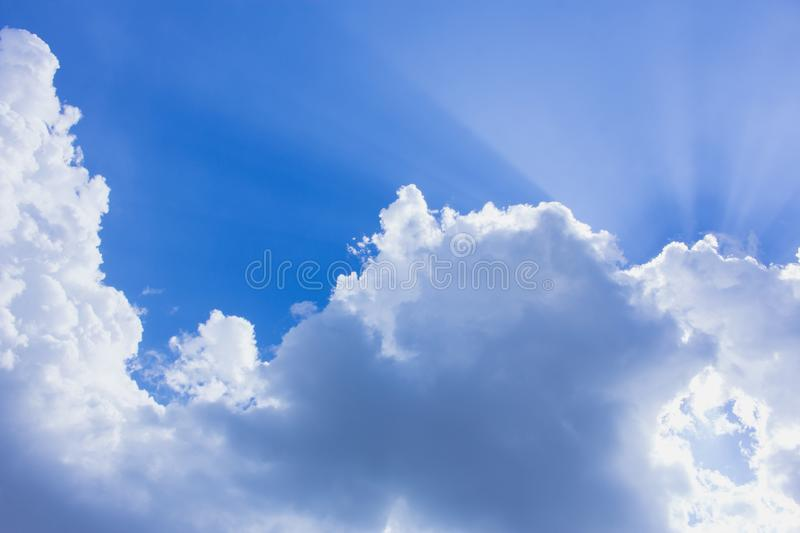 The cloud and blue sky, the cloud and sunlight royalty free stock photos