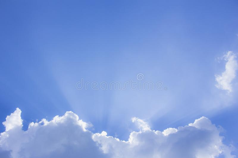 The cloud and blue sky, the cloud and sunlight. Shining stock photography