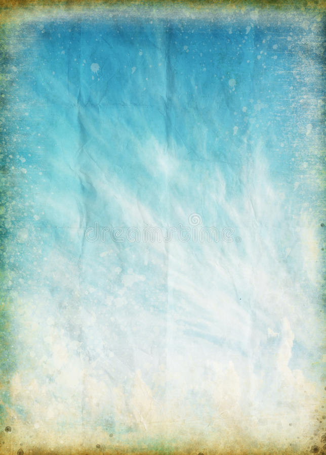 Cloud and blue sky on old grunge paper stock illustration