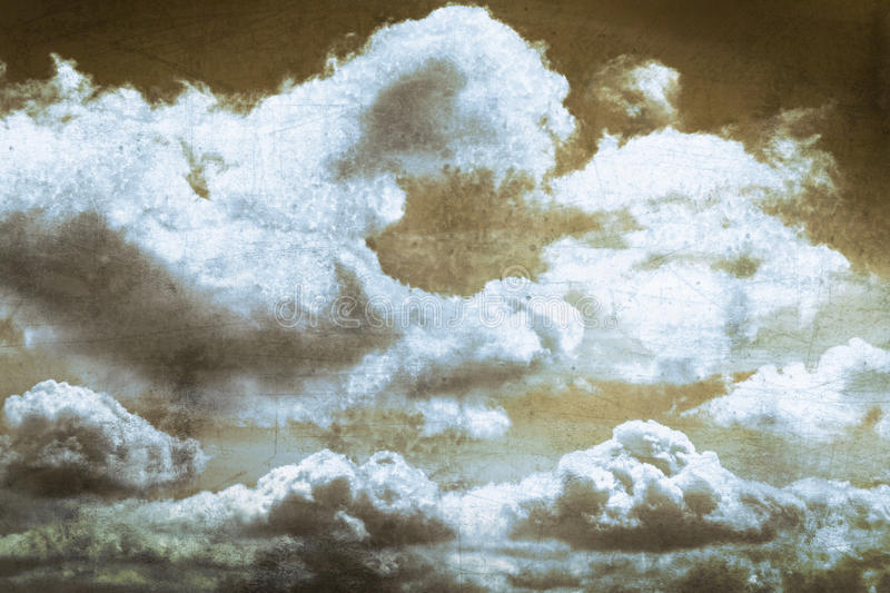 Cloud and blue sky on old scratched metal texture. Grunge background royalty free stock images