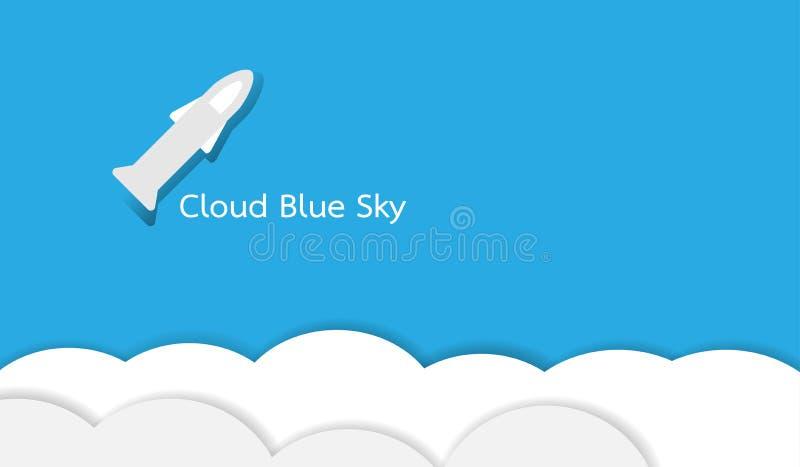 Cloud on blue sky with a rocket on a light blue background. stock illustration