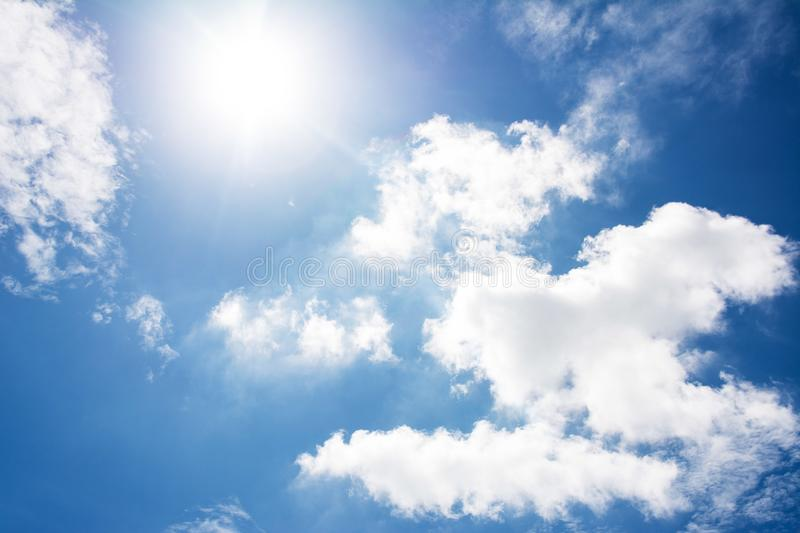 Cloud blue sky and sun. Background stock photo