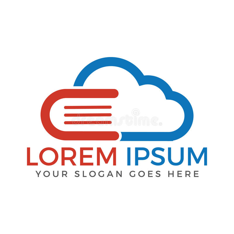 Cloud Book and E-learning Creative And Symbolic Logo Design. Online education and library application or webiste logo design template stock illustration