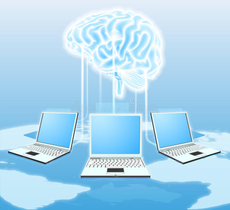 Cloud brain computer concept royalty free illustration