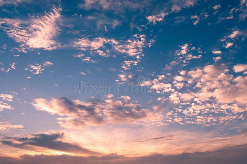 Cloud in bright rainbow colors and Colorful smooth sky in dusk. Altocumulus cloud in bright rainbow colors and Colorful smooth sky in dusk royalty free stock image