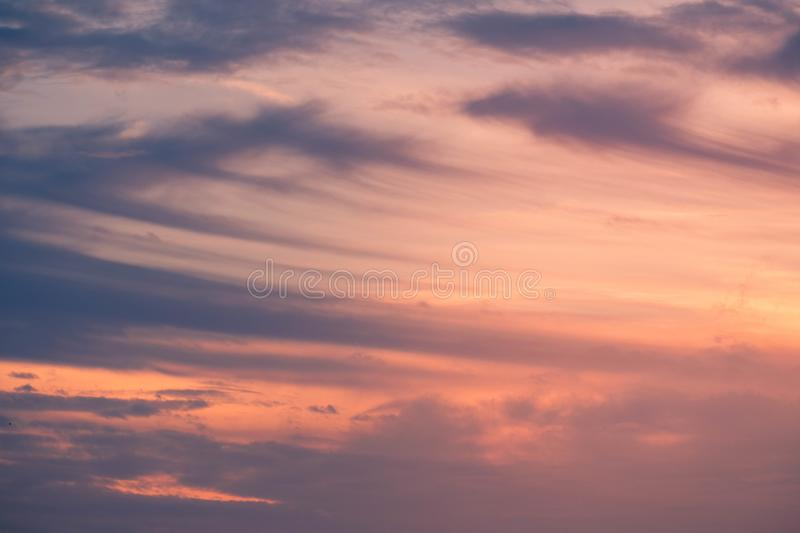Cloud in bright rainbow colors and Colorful smooth sky in dusk. Altocumulus cloud in bright rainbow colors and Colorful smooth sky in dusk stock photos