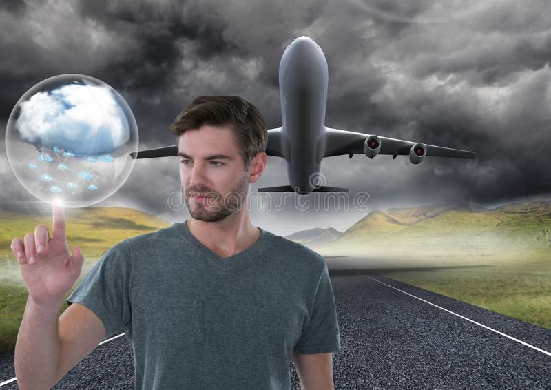 Cloud bubble and Businessman touching air in front of airplane on runway royalty free stock image