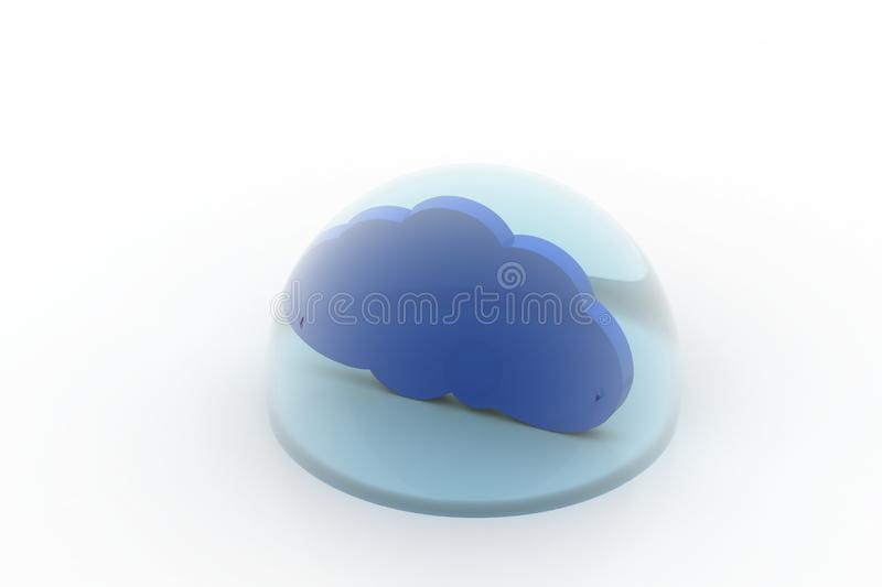 Cloud in the bubble. In white background stock photos