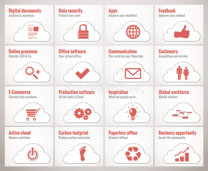 Cloud business icons stock illustration