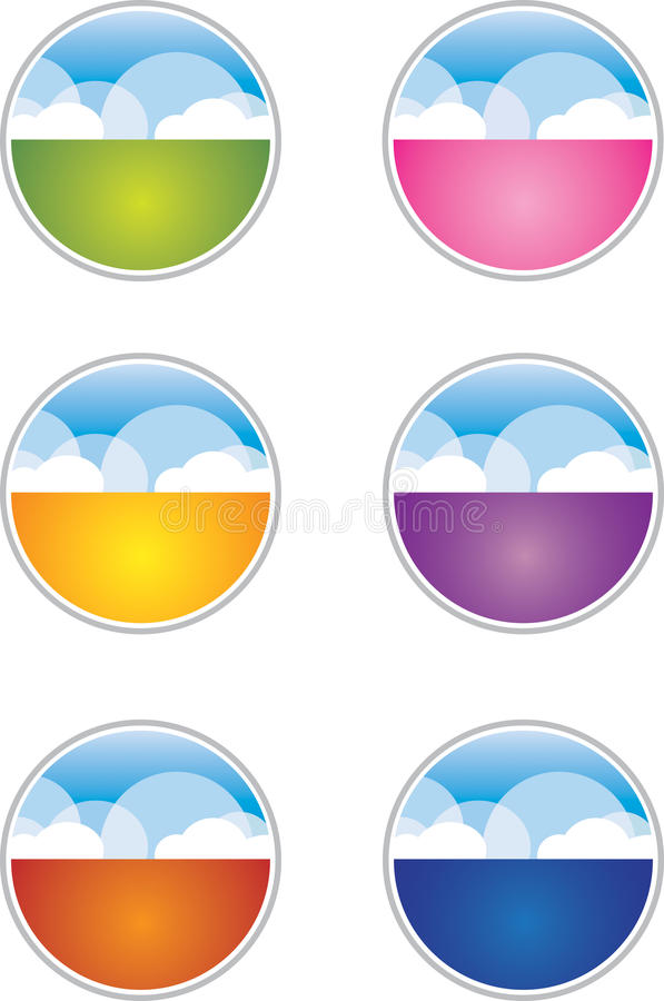 Cloud Buttons / Icons. A collection of colorful cloud buttons royalty free illustration