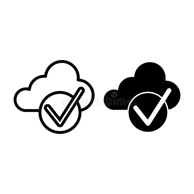 Cloud with check line and glyph icon. Cloud and tick vector illustration isolated on white. Download is done outline. Style design, designed for web and app vector illustration