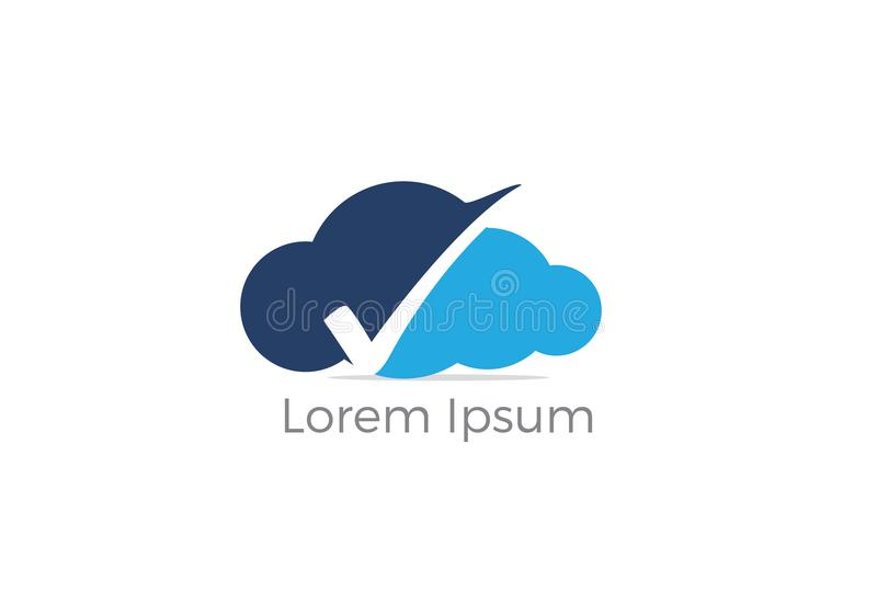 Cloud check mark logo design, tick mark on shield and cloud icon. Safety and security symbol. royalty free illustration