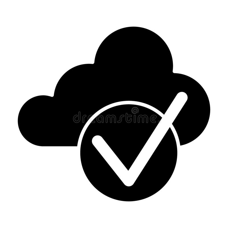 Cloud with check solid icon. Cloud and tick vector illustration isolated on white. Download is done glyph style design. Designed for web and app. Eps 10 stock illustration