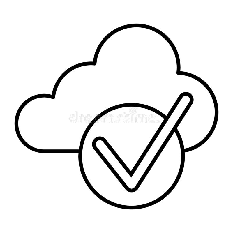 Cloud with check thin line icon. Cloud and tick vector illustration isolated on white. Download is done outline style. Design, designed for web and app. Eps 10 royalty free illustration