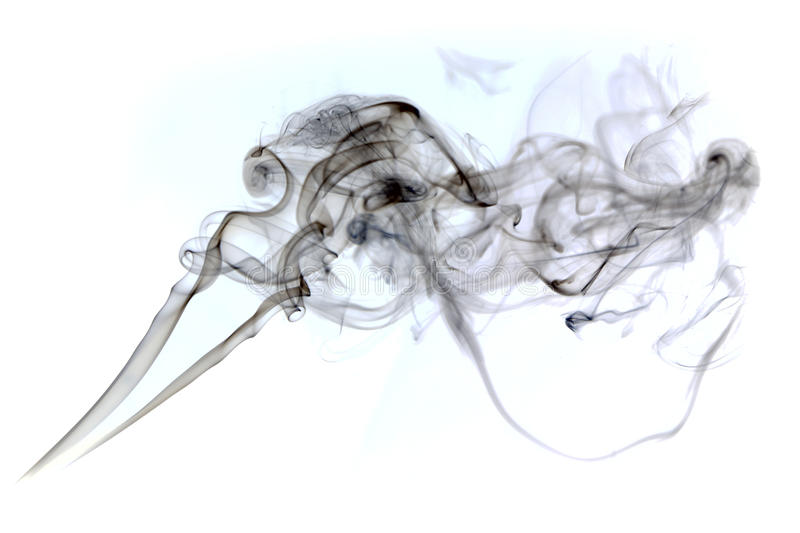 A cloud of cigarette smoke on a white background stock photo