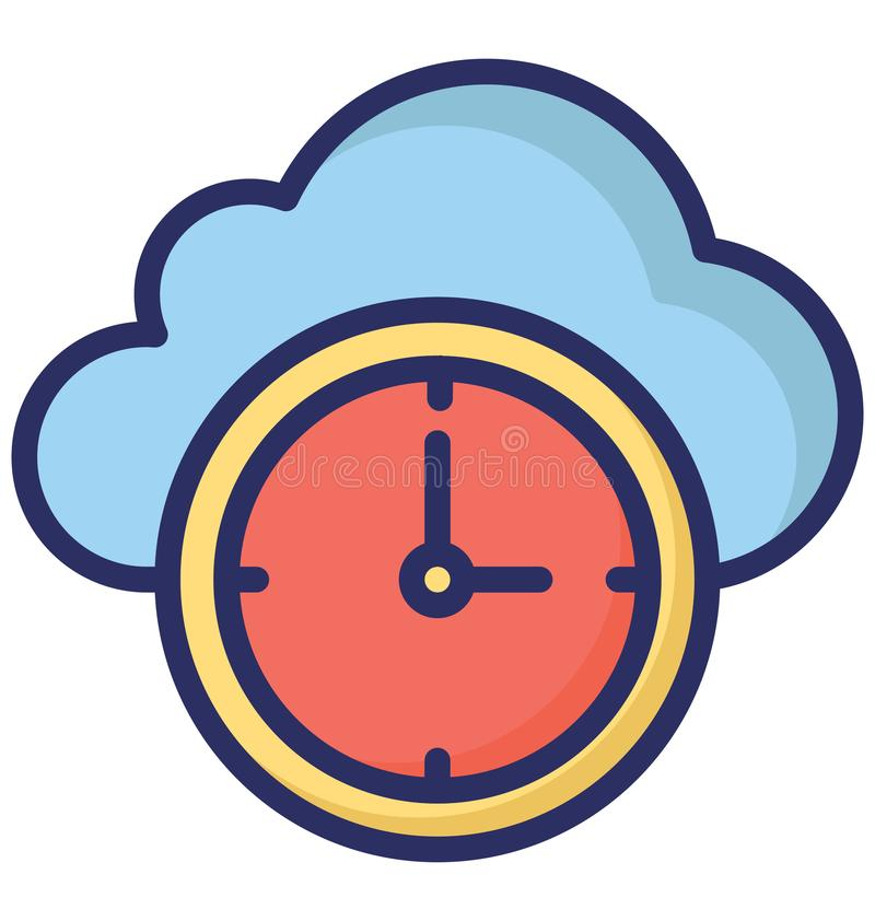 Cloud Clock Isolated Vector Icon that can easily modify or edit. vector illustration