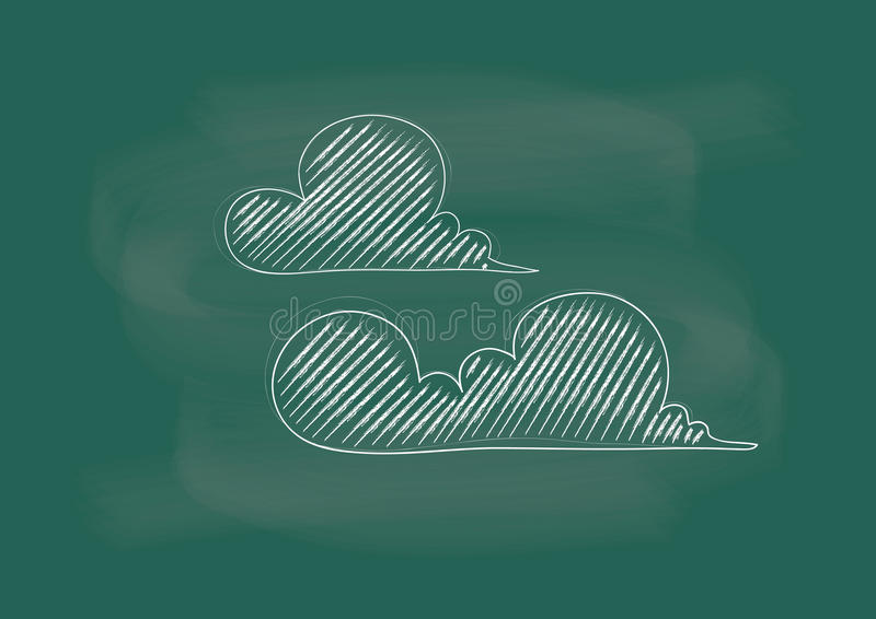 Cloud, clouds, vector of the clouds drawing on blackboard chalk stock illustration