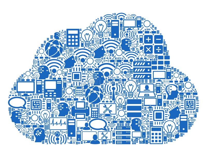 Cloud Mosaic Icon for BigData and Computing royalty free illustration