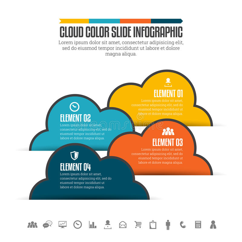 Cloud Color Slide Infographic. Vector illustration of cloud color slide infographic design element stock illustration