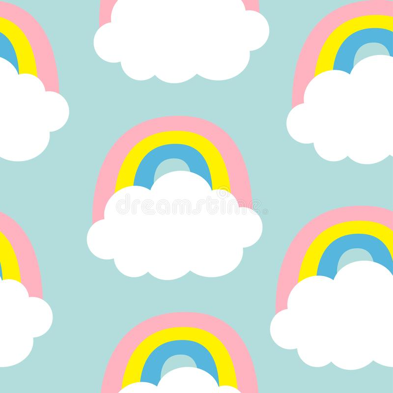 Cloud Colorful Rainbow. Seamless Pattern. Cute cartoon kawaii funny baby kids decor. Wrapping paper, textile template. Nursery stock illustration