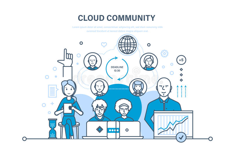 Cloud community, support, communications, information technology, feedback, development of software. Cloud community, technical support, communications stock illustration
