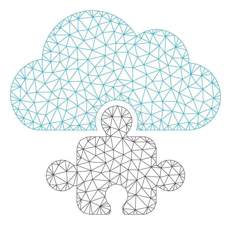 Cloud Component Polygonal Frame Vector Mesh Illustration stock illustration