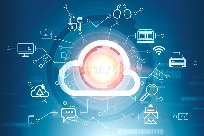 Cloud computer interface and code lines. Cloud computer interface icon in hud with computer icons around it over blue background. Concept of hi tech. 3d royalty free illustration